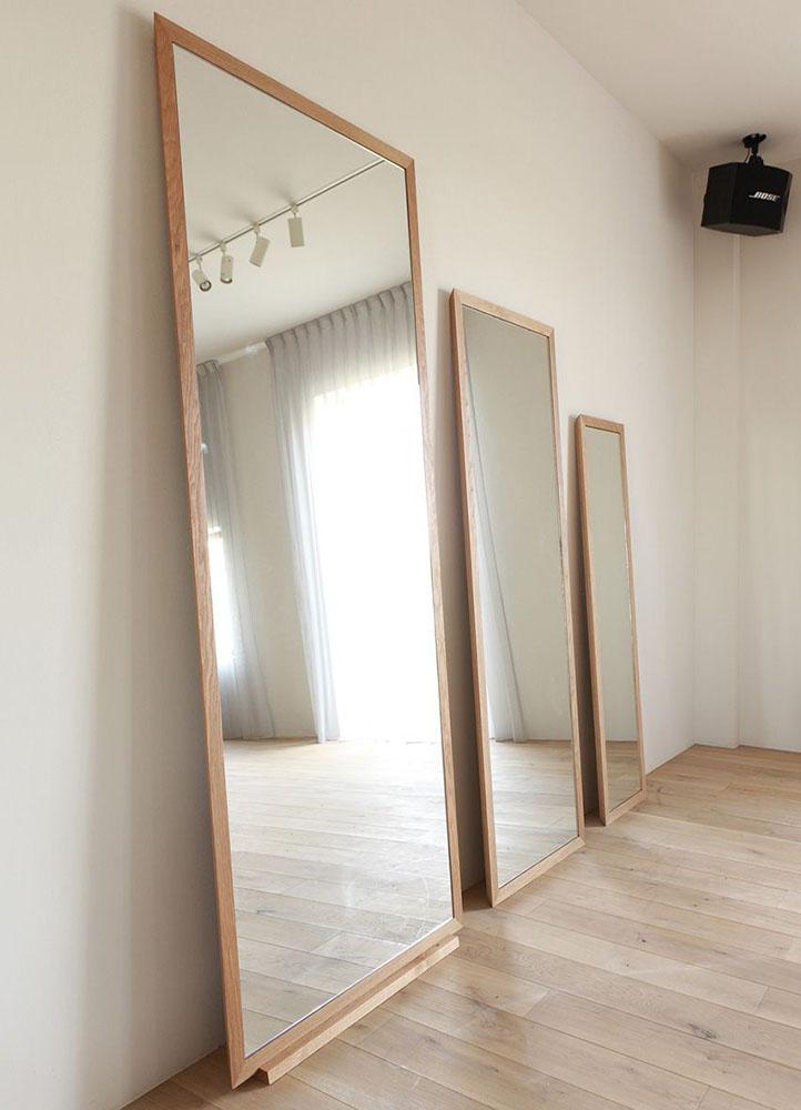 espejos para habitacion con marco de madera